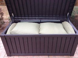 Smile Keter Rockwood Deck Box 150 Gallon Patio Lawn Garden