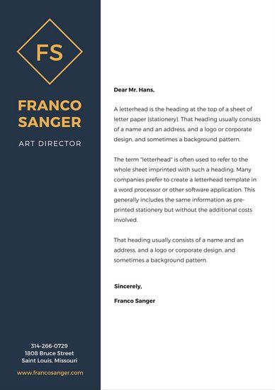 Blue Yellow Personal Letterhead Stationary Design Pinterest