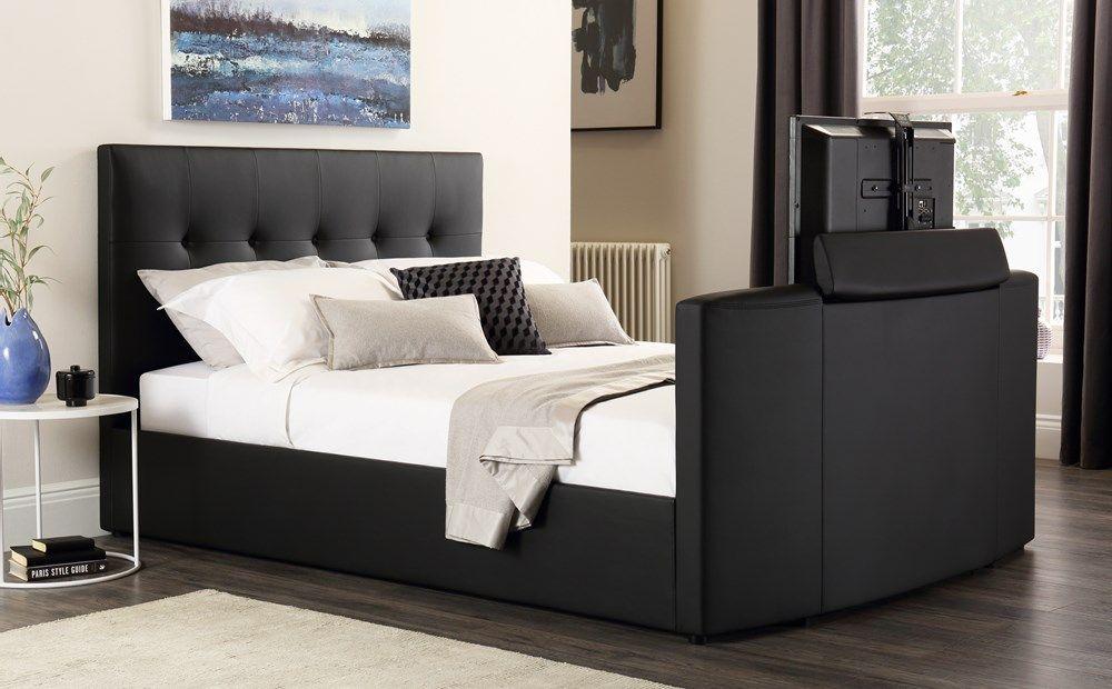 Langham Black Leather Tv Bed King Size Queen Bedding Sets Tv