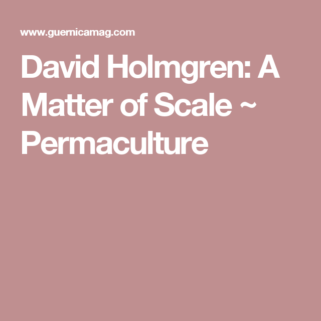 David Holmgren: A Matter of Scale ~ Permaculture