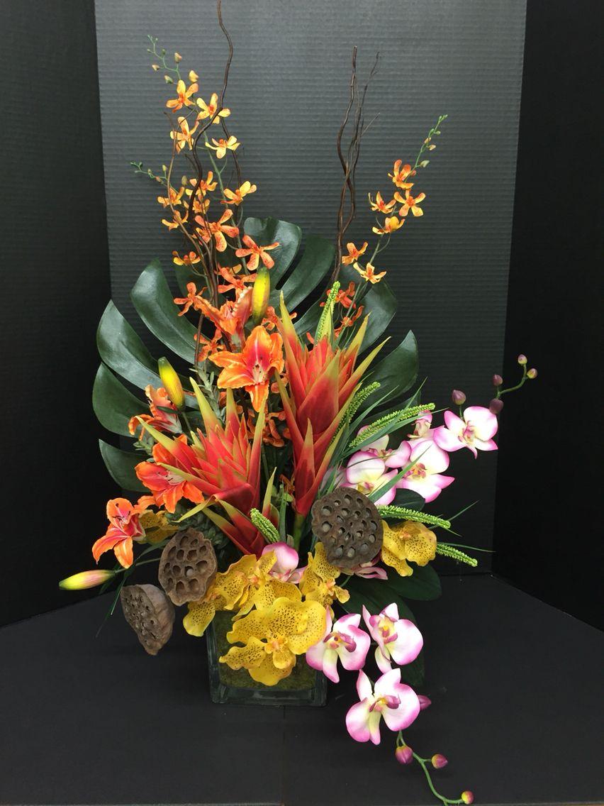 Tropical Silk Floral Arrangement Silk Floral Designs Pinterest