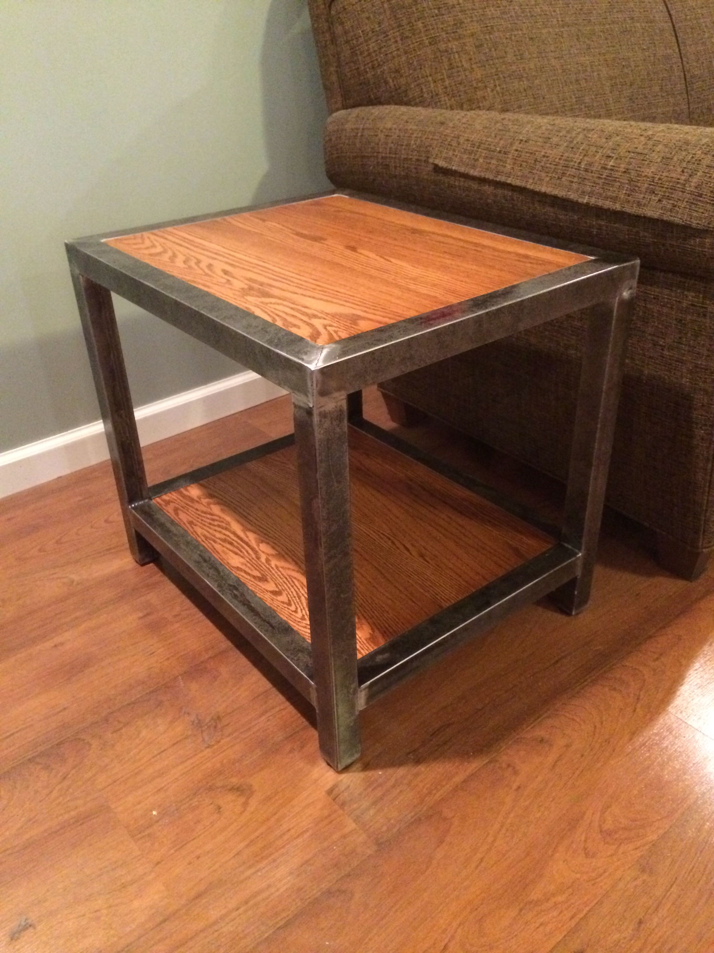 """Welded end table. 1 1/2 square tubing and 3/4"""" red oak."""