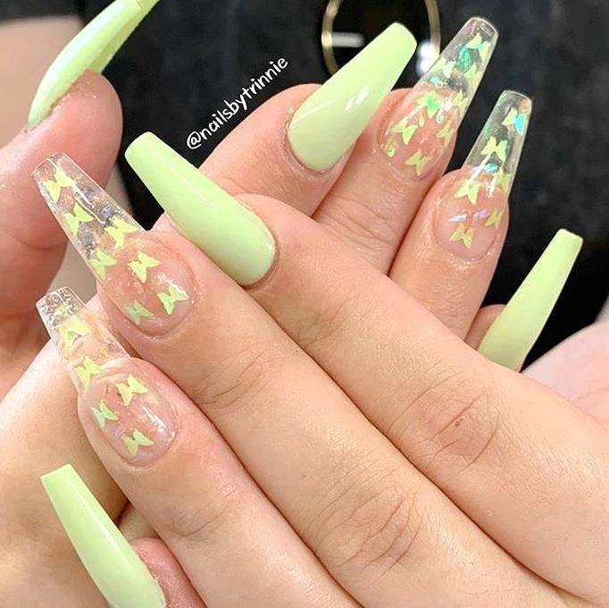 Las Ideas De Unas Acrilicas Inspiracion Unas Acrilicas Acrylic Ideas In 2020 Butterfly Nail Art Simple Acrylic Nails Summer Acrylic Nails
