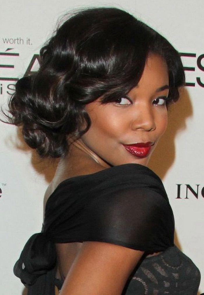Black Updo Hairstyles with Curly Hair | Updo styles | Pinterest ...