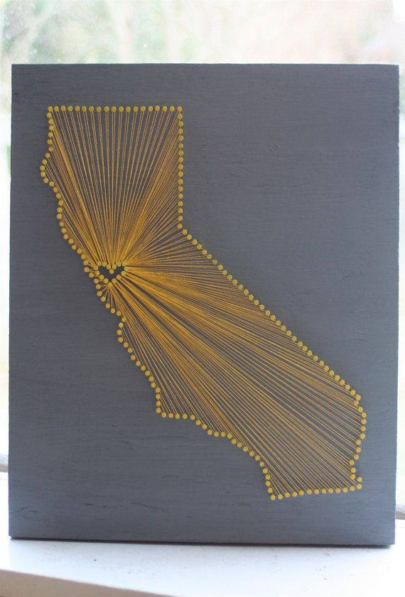 California Love Reclaimed Wood Nail And String Art Tribute To The