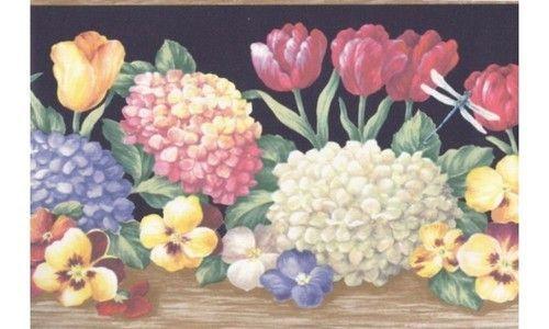 Wooden Black Hydrangea Tulips BV6193 Wallpaper Border