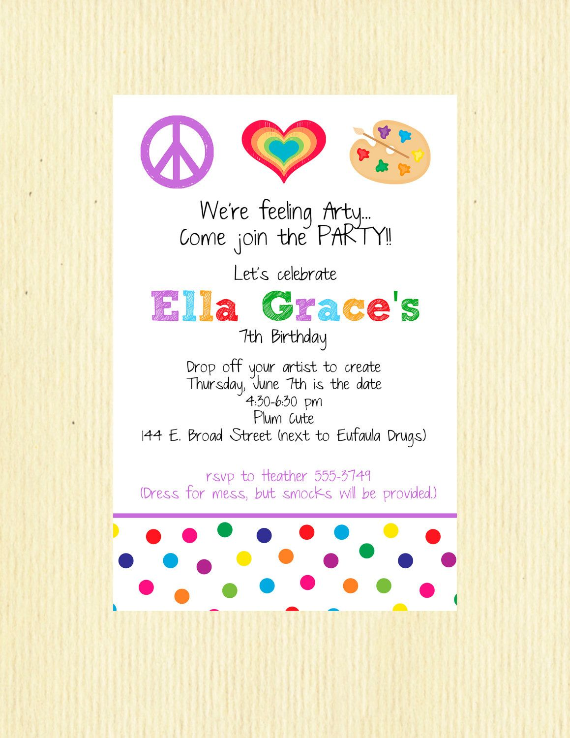 Painting+Party+Invitation+Wording | Art Birthday Party Invitation ...