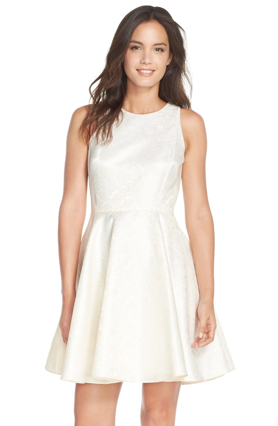 Fit and flare dress wedding  Joanna Chen New York Metallic Brocade Fit u Flare Dress  Wedding