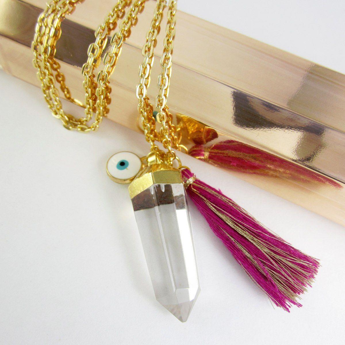 27dd9f45eb52 Collares Mujer Collar Cadena Baño oro Pendulo Cuarzo Cristal Piedras  Semipreciosas Finas Joyas Bisuteria Fina de