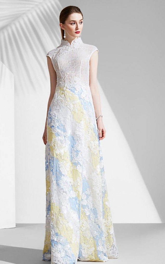 Shop For White Lace Embroidered Evening Dress 20171212 New