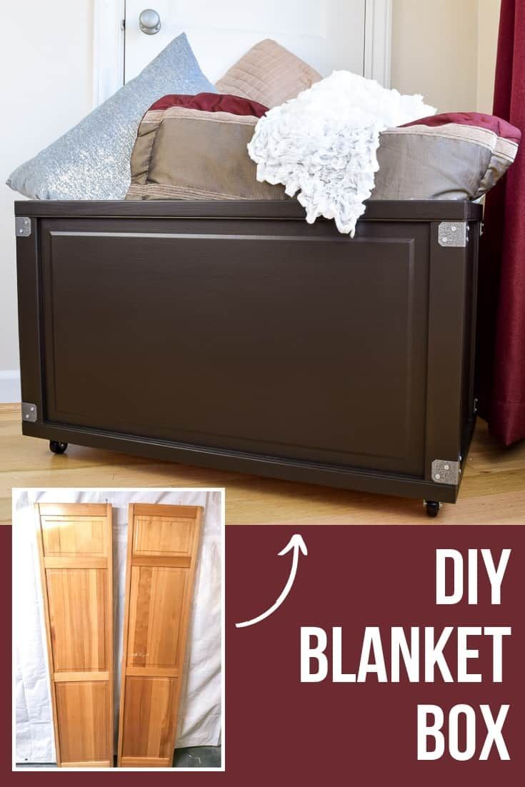 If blankets and pillows are cluttering up your living room or bedroom, you need to make this blanket box! This DIY storage bin would be perfect as a rolling toy box too! Check out this easy tutorial for how to turn bifold doors into a simple blanket storage box at The Handyman's Daughter! #storage #blanket #diyproject #thehandymansdaughter