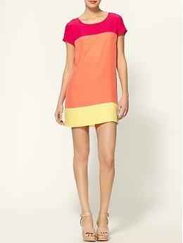 An anytime dress in color blocking perfection - Amanda Uprichard Color Block Silk Tunic Dress