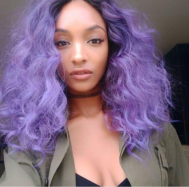 Black Model Jourdan Dunn In Purple Hair Black Girls With Colorful Hair Inspiration Bright Purple Hair Hair Color Trends Hair Dye Colors