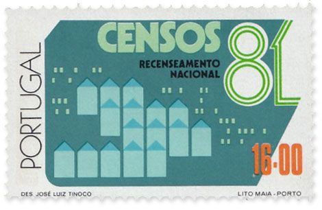 1981 Portugal Recenseamento Nacional Censos stamp designed by José Luiz Tinoco