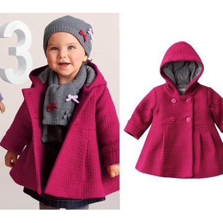 35cbec854a99 New Baby Toddler Girl Autumn Winter Horn Button Hooded Pea Coat ...