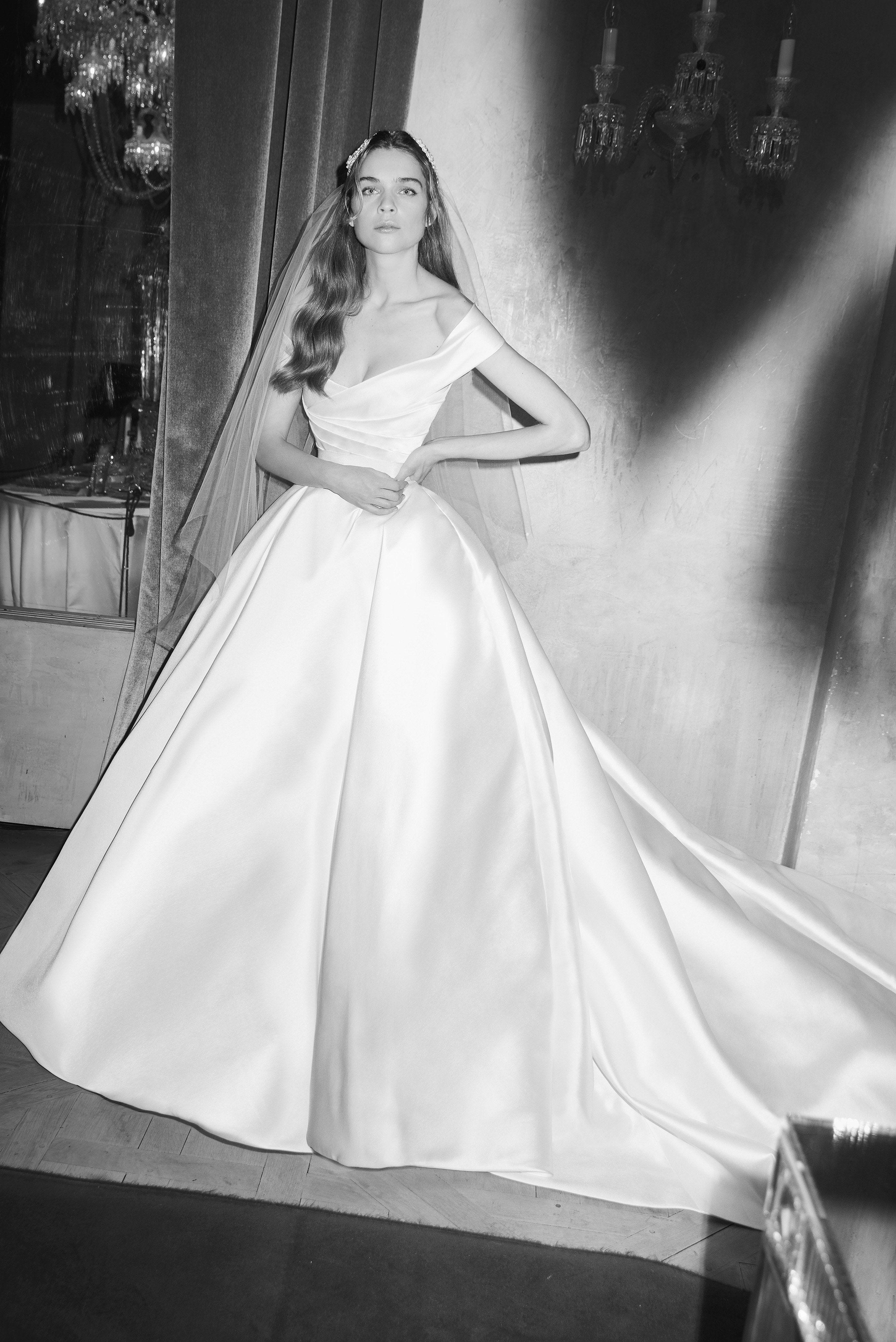 Elie Saab Bridal Spring 2019 Off The Shoulder Satin Ball Gown