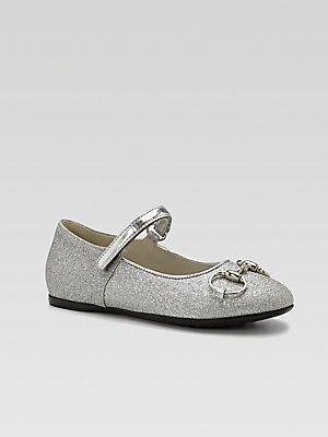 Gucci Girls Shiny Horsebit Mary Jane Flats