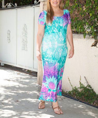 Look at this #zulilyfind! Teal Floral Jasmine Maxi Dress - Plus #zulilyfinds