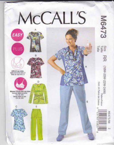 McCalls Sewing Pattern 6473 Easy Women\'s Plus Size 18W-24W Scrub ...