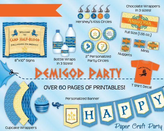 Demigod Percy Jackson Inspired Birthday Party DIY Printable Party – Percy Jackson Birthday Invitations