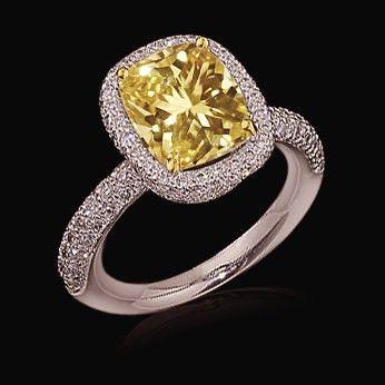 Canary Cushion Cut Diamond Ring, $14500 wedding