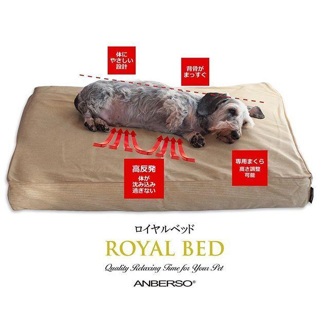 人間より睡眠時間が長いペットに最高の眠りを提供するアンベルソの ロイヤルベッド 体に優しいダブルクッション構造でペット の体を優しく支えます シニア犬や関節障害のあるペットにもおすすめのベッドです 高機能なロイヤルベッドの特長について詳しくは