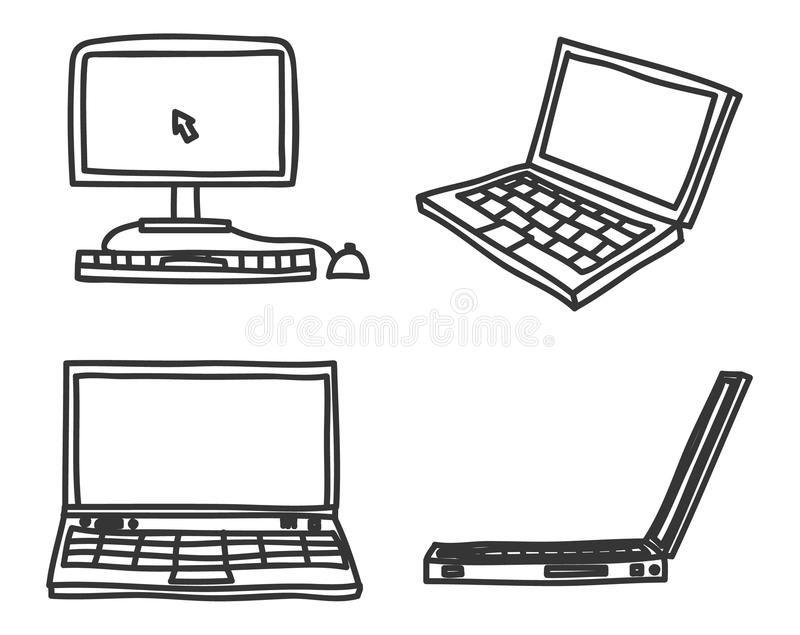 Hand Drawn Laptop And Desktop Computer Art Vector Icon Set Illustration Ad Desktop Computer Laptop Computer Drawing How To Draw Hands Computer Icon