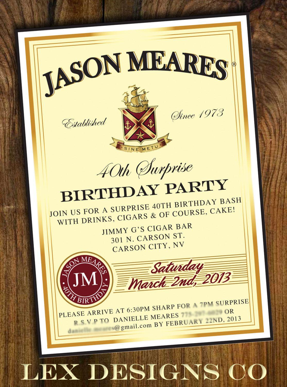 DIY Digital Whiskey Label Birthday Invitation. $15.00, via Etsy ...