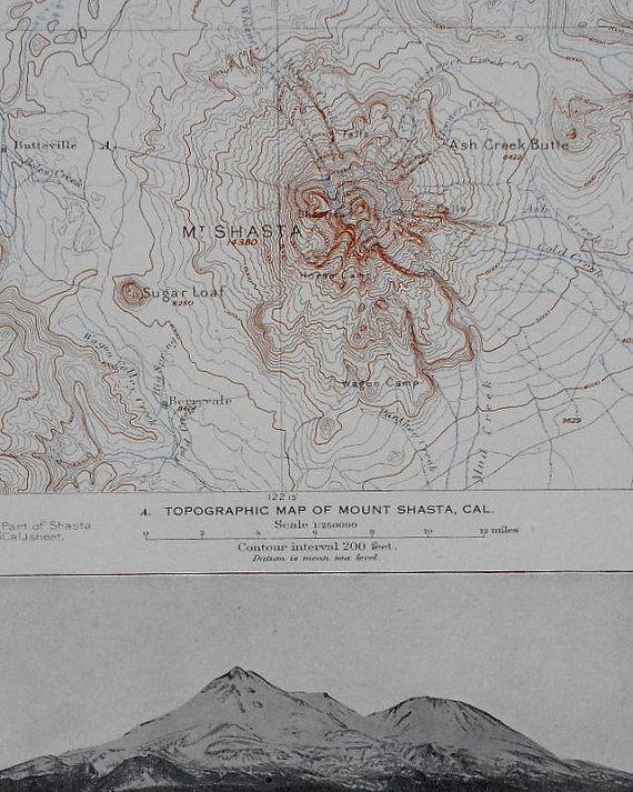 1908 Mount Shasta Ca California Black Crater Sugar Loaf Antique