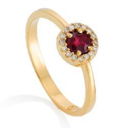 Anel Ouro Amarelo Diamantes e Rubi Classic Oriental   Anillos ... bc7124a220