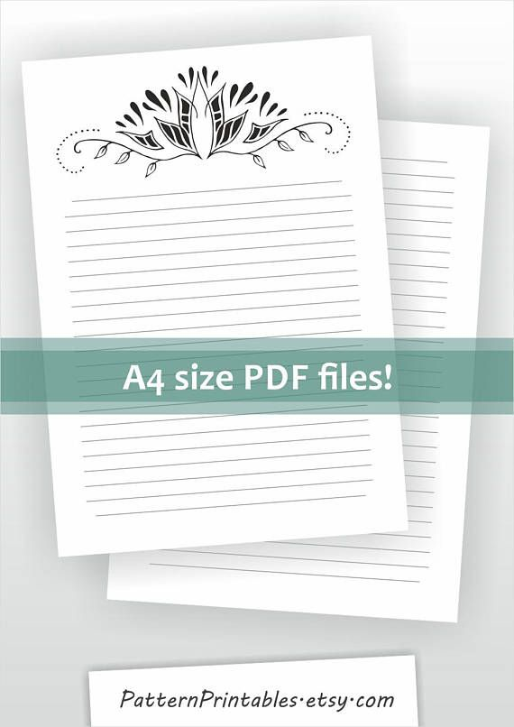 Digital A4 size lined letter writing paper Printable pdf Black and