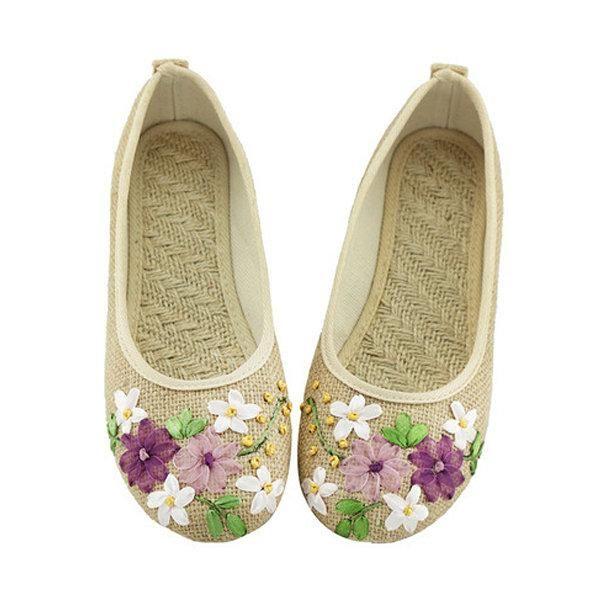 Grande Taille Fleur Imprimer Glissement Du Vent National Sur Les Chaussures Plates L2juXluOHO