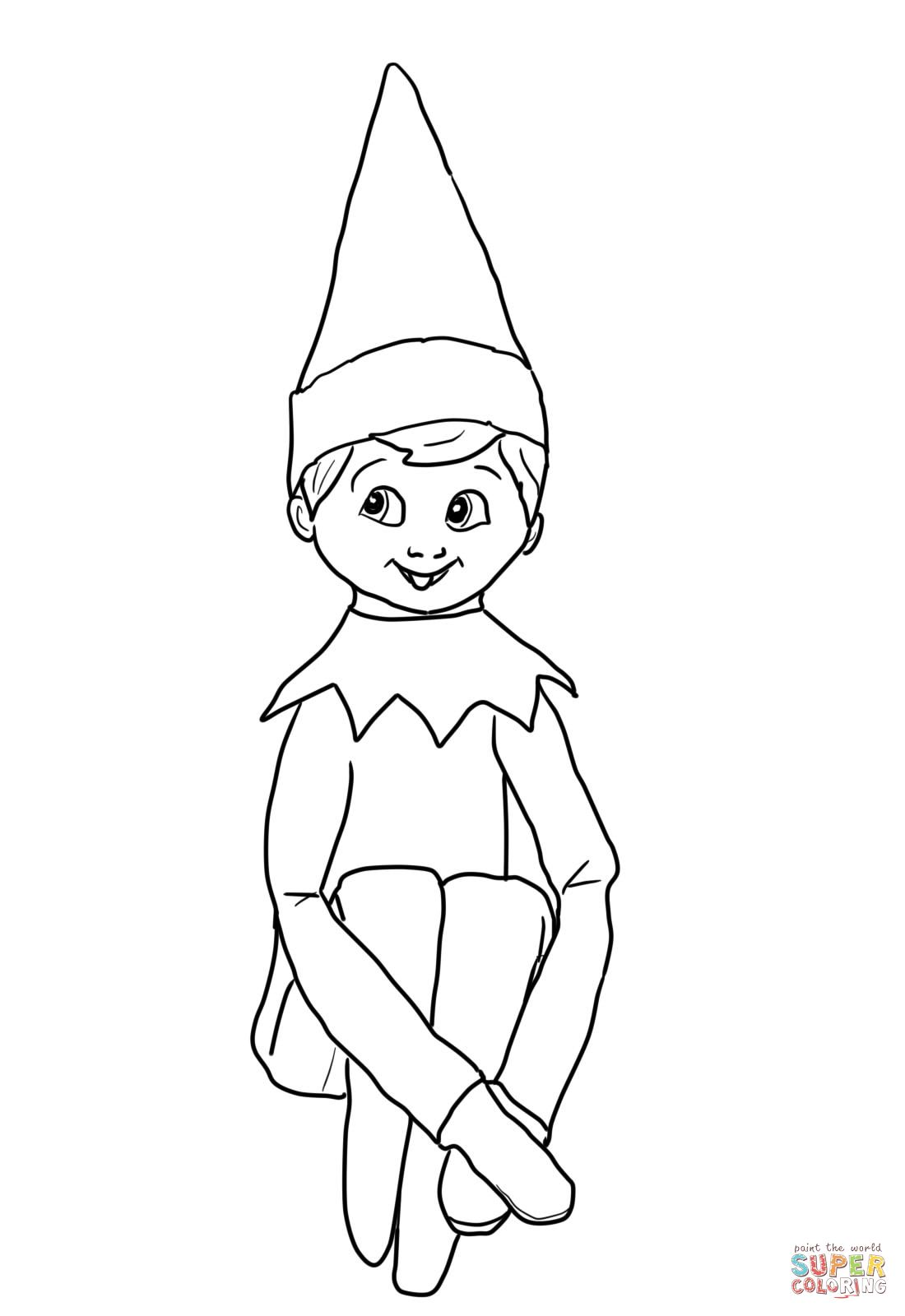 Santa And Elf On Shelf Coloring Pages
