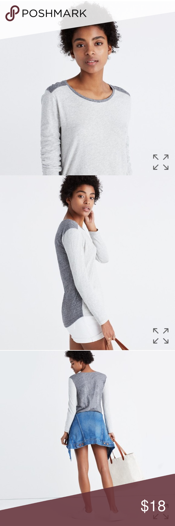 Madewell whisper cotton long-sleeve tee-colorblock Madewell whisper cotton long-sleeve crewneck tee in colorblock.  Size Medium.  PRODUCT DETAILS It's no secret, our best-selling crewneck tee is the kind of forever favorite you'll want in every color. Fashioned of light and airy slub cotton, this T-shirt is live-in-it soft and perfectly draped—one to tell your friends about, in other words. Lightweight, excellent used condition. Smoke free home.  True to size. Cotton. Machine wash. Import…