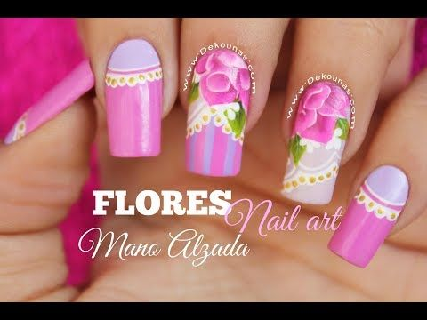 Diseo De Uas Flores A Mano Alzada One Stroke Nail Art Youtube