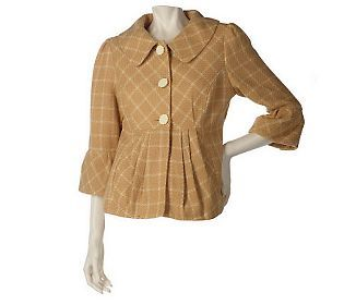 Elisabeth Hasselbeck For Dialogue Printed Jacket W Pleat Detail