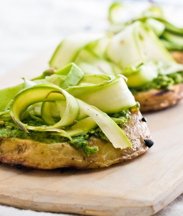 grilled avocado and garlic pesto bread