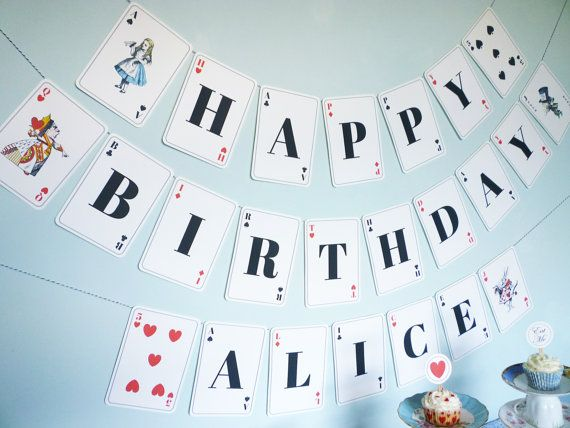 Alice In Wonderland Banner Playing Card Printable DiY Personalized Birthday Party Editable PDF Files
