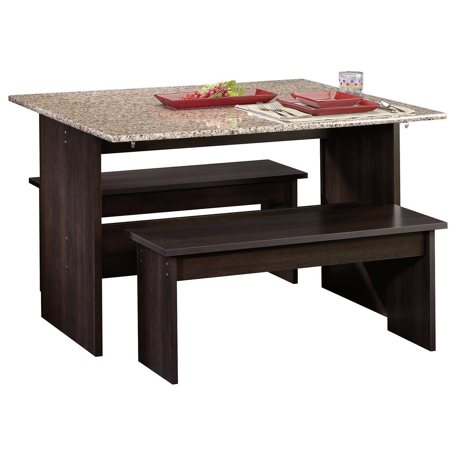 Mesa Desayunador Abatible con Bancas Chocolate Bosque | Cocinas ...