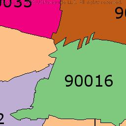 West Adams Los Angeles California Zip Code Boundary Map Ca Los Angeles California Photography Los Angeles California