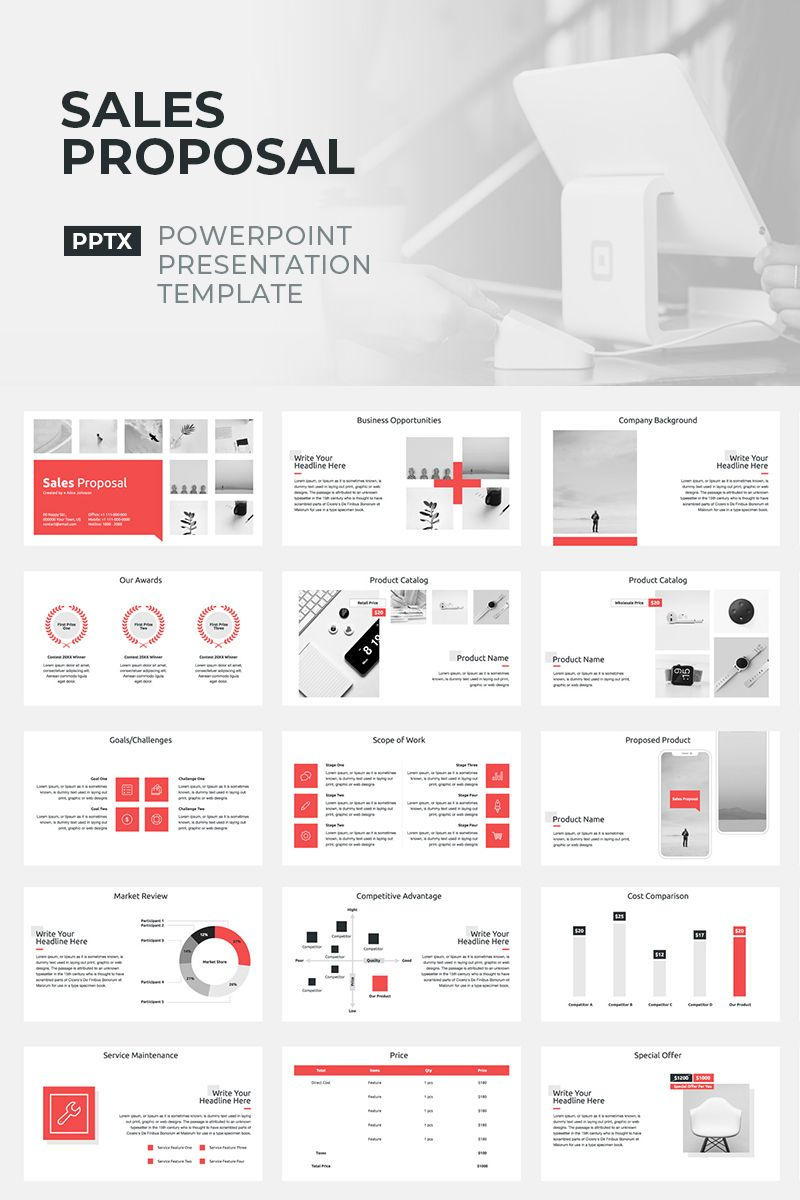 Sales Proposal PowerPoint Template 93376 in 2020