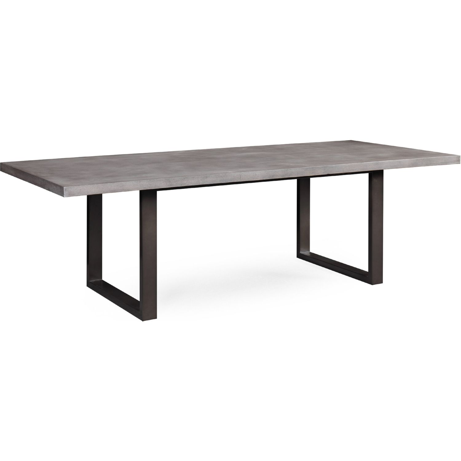 Edna 94 Grey Concrete Dining Table On Black Steel Legs By Tov