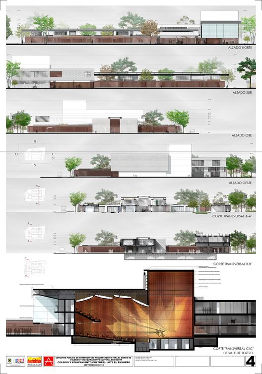 Primer Lugar Concurso para el Diseño de Colegios y un Equipamiento Cultural – Teatro, en Bogotá / Colombia,Lámina 04. Image Courtesy of Carlos Andrés García y Eduardo Mejía