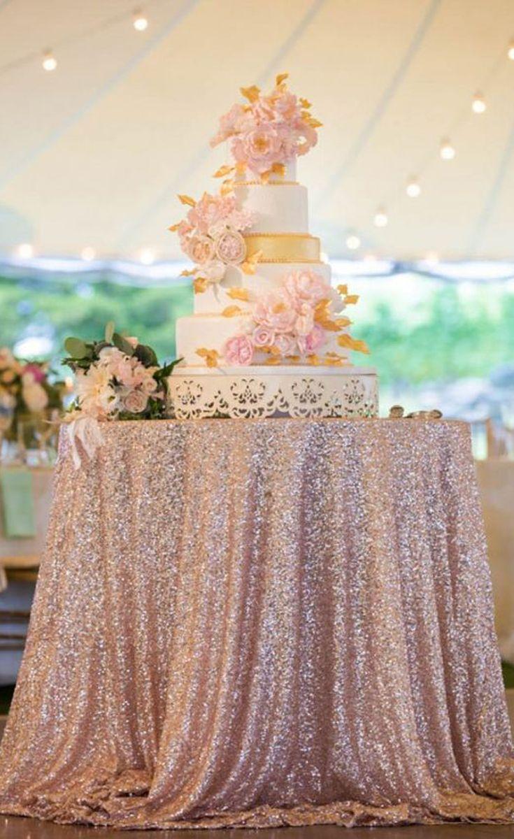 8 Decor Ideas For A Rose Gold Wedding Wedding Cake Table Gold Wedding Cake Wedding Tablecloths