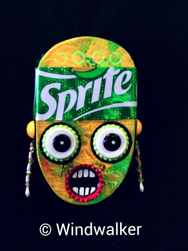 Sprite Woman-Outsider Folk Art-Bottle Cap and Wood Assemblage-Comical Character #Outsider