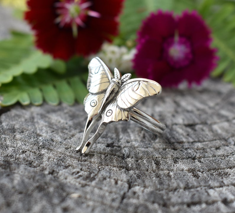 Animal ring Silver Insect ring Bohemian Jewelry Moth ring Gift for animal lover