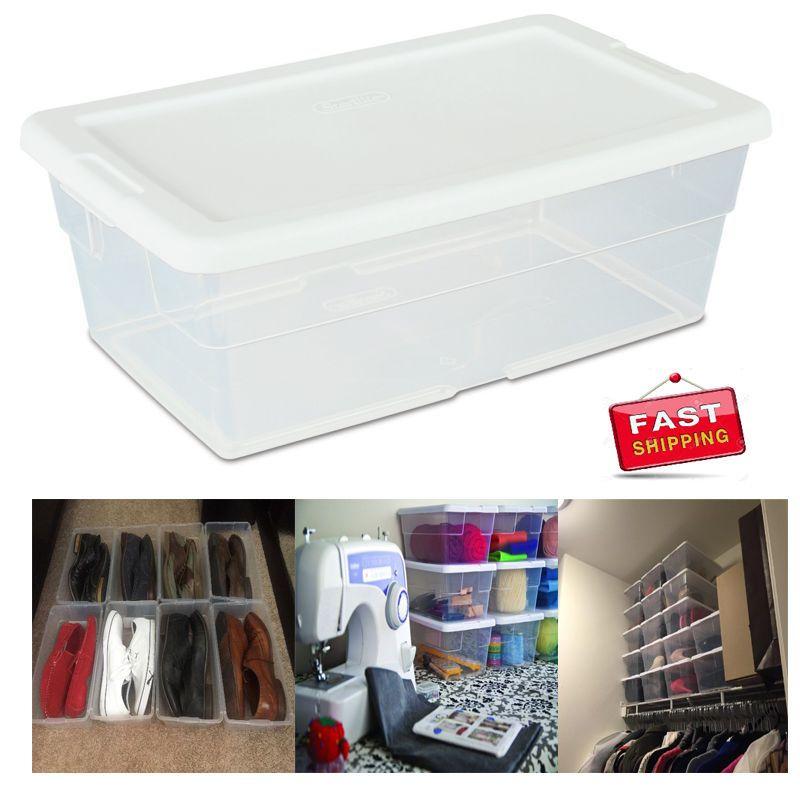 Sterilite 6 Quart 57 Liter Storage Box White Lid With Clear Base