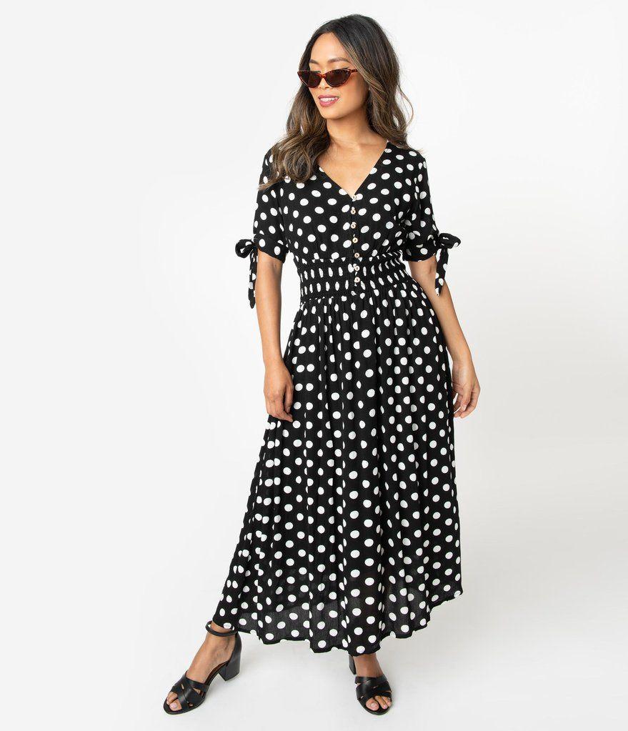 white dress with black polka dots midi