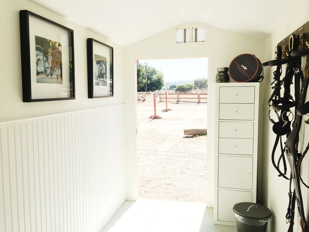 adorable tuff shed pictures. The cutest Tuff Shed tack room  With white bead board and simple furnishings this space