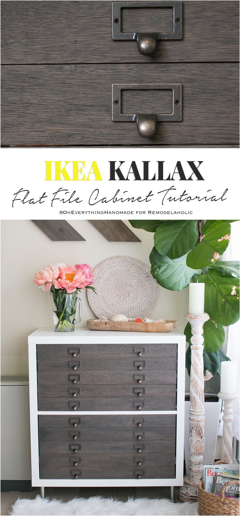 Ikea Hack Kallax Cube Shelf Into Card Catalog Style Flat File Cabinet With Drawers